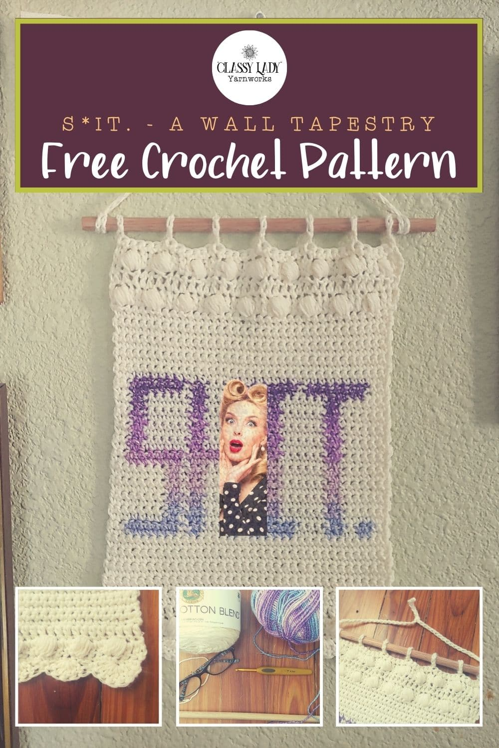 """Crocheted wall art that says """"Shit."""" Represents a crochet pattern that is available from Classy Lady Yarnworks"""